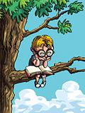 Cartoon of little boy in a tree
