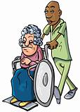 Cartoon of an orderly pushing an old lady