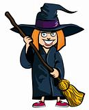 Cartoon of little girl in a witches costume