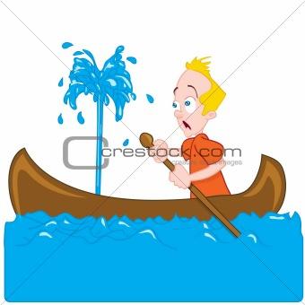 Cartoon of a man in a sinking canoe