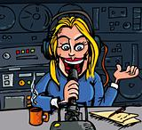 Cartoon talk radio dj