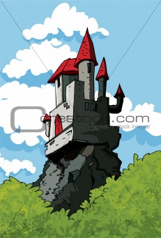 Castle in the woods under a blue sky