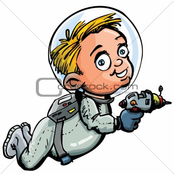 Cute cartoon of spaceman with a lazer gun