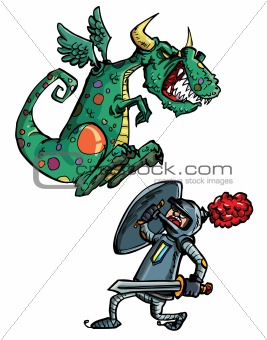Cartoon of dragon attacking a knight