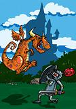Cartoon of a knight facing a fierce dragon