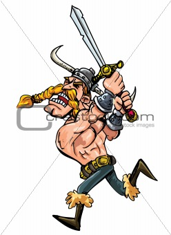 Cartoon viking charging with his sword