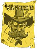 Cartoon cowboy wanted poster