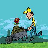 Cartoon of man pushing a wheelbarrow
