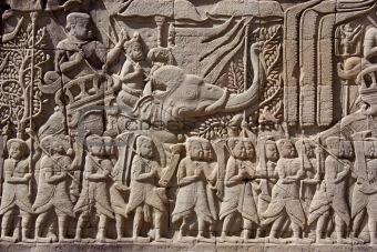 Carving on temple wall – Angkor – Cambodia