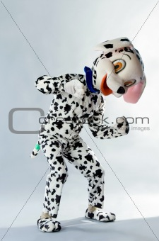 a man dressed as a dog Dalmatians