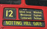 Red bus destination panel