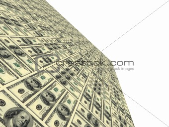 Flat surface painted into image of dollars