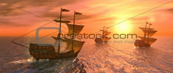vessels at sunset