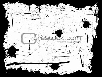 Black Grunged Border with White Background