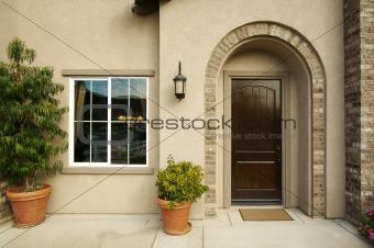 Modern Front Doorway and Patio