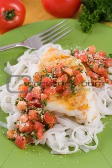 Grilled cod with tomato pesto