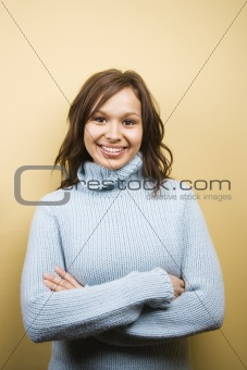 Woman wearing sweater.