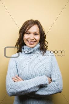 Woman wearing sweater.