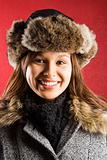 Woman in fur hat.