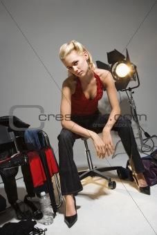 Woman on set.