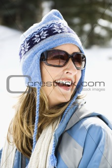 Woman in ski cap.