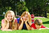 Family relaxing in a park