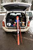 Vehicle with skis.