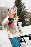 Woman with ski gear.