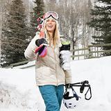 Woman with ski gear.