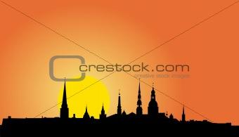 Old Riga panorama silhouette