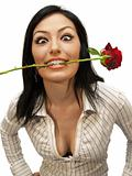 Woman bitting rose