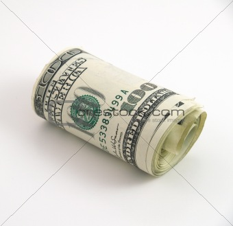 Roll of one hundred dollar bills