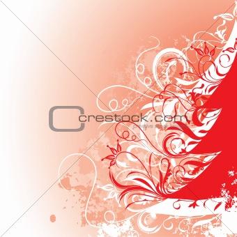 Grunge christmas tree background, vector