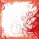 Winter grunge christmas frame, vector