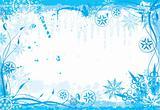 Winter grunge floral frame