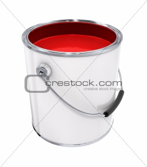Bucket with red paint