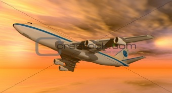 747 plane at sunset