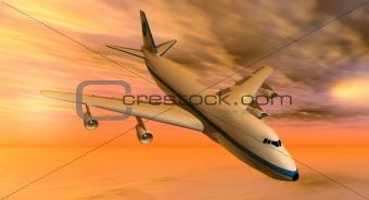 747 plane at sunset