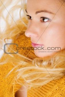 Beautiful girl wearing yellow cardigan