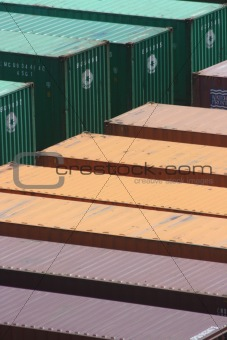 Green Yellow and Purple Shipping Containers