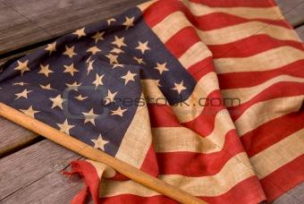 American flag on table