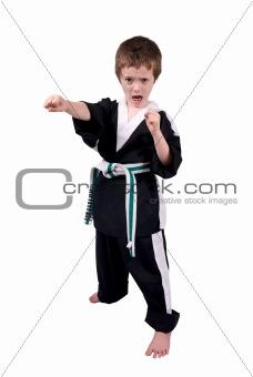 Boy Wearing Karate Outfit