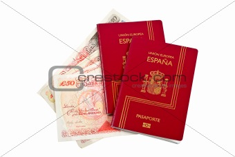 Two Spain passports and money