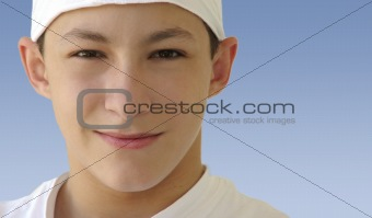 Boy in a white hat