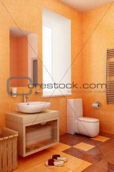 ogange bahtroom interior