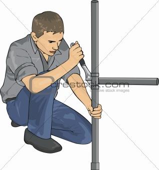 Plumber with tools repair tubes