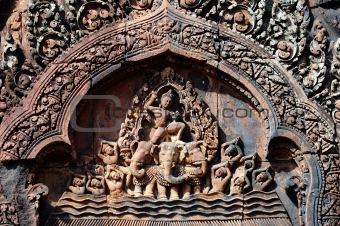 Carving of mandapa at Banteay Sreiz, Cambodia