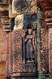 Statue carving on mandapa, Banteay Sreiz, Cambodia