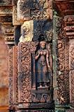 Statue carving on mandapa, Banteay Sreiz, Cambodia