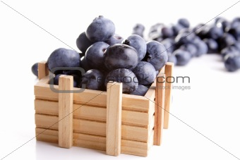 Blueberries in a wooden box